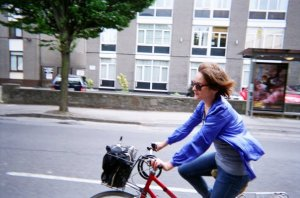 Aisling on her Red Bike