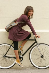 Lady on fixed gear bicycle (Irish Times)